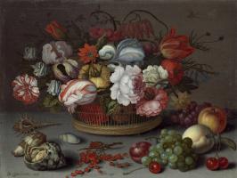 Балтазар ван дер Аст. Корзина с цветами и красная смородина