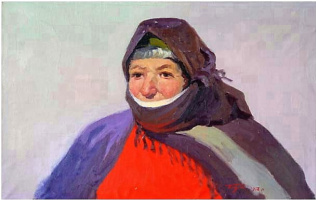 Albert Tsovyan. The portrait of an old woman from goris - 1958 oil on canvas