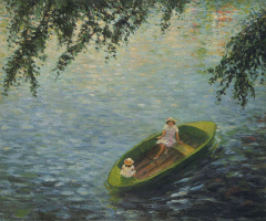 Henri Lebasque. Young girls in a boat on the Marne