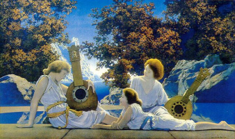Maxfield Parrish. Playing the lute