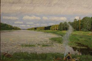 Евгений Александрович Казанцев. Rainy summer on the Klyazma.