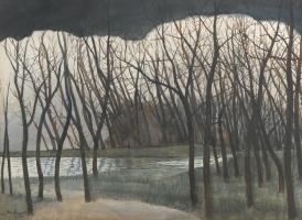 Леон Спиллиарт. Водоем, окруженный деревьями. Зима
