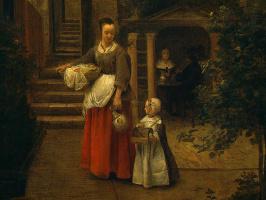 Питер де Хох. Женщина с ребенком во дворе, фрагмент