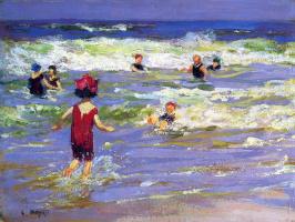 Эдвард Генри Поттаст. Маленькая купальщица в море