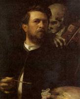 Арнольд Беклин. Автопортрет со смертью, играющей на скрипке
