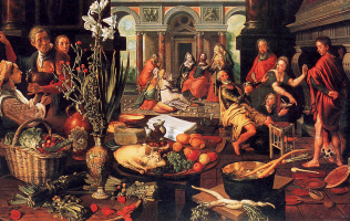 Питер Артсен. Христос в доме Марха и Марии