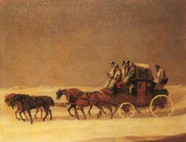 Генри Алкен. Королевская почта на открытой дороге в зимний период