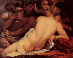 Аннибале Карраччи. Венера, сатир и амуры