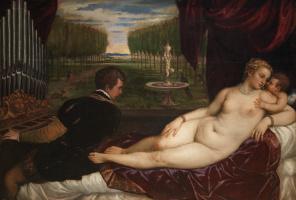 Тициан Вечеллио. Венера, органист и Купидон