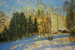 Константин Федорович Юон. Зимнее солнце. Лигачево. 1916