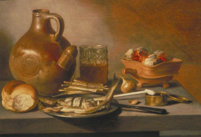 Peter Class. Still life with jug, herring and smoking accessories