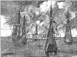 Питер Брейгель Старший. Три парусных корабля со свернутыми парусами
