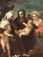 Андреа дель Сарто. Мадонна с младенцем, святыми Екатериной, Елизаветой и Иоанном Крестителем