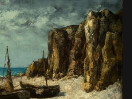 Gustave Courbet. Boats on beach, étretat. Фрагмент1