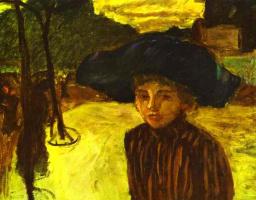 Pierre Bonnard. A woman in a blue hat