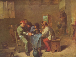 Адриан Браувер. Крестьяне играют в карты в трактире