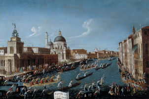 Regatta with the participation of women on the Grand Canal in Venice