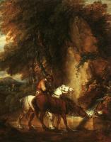 Томас Гейнсборо. Лесной пейзаж с лошадьми у водопоя