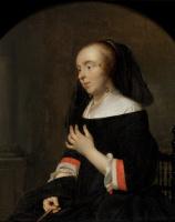 Габриель Метсю. Портрет жены художника Изабеллы де Вольф. Часть диптиха семейного портрета