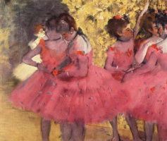 Edgar Degas. Dancers in pink between the scenes