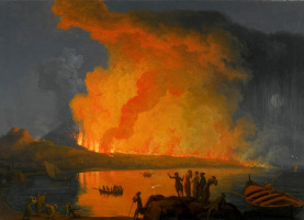 Пьер-Жак Волер Франция. Vesuvius eruption at night with viewers in the foreground.