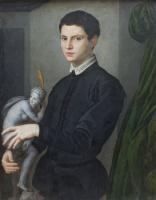 Аньоло Бронзино. Портрет мужчины, держащего статуэтку