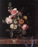 Виллем ван Алст. Ваза с цветами и часы