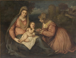 Titian Vecelli. Virgin and Child, with Saint Dorothy