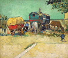 Vincent van Gogh. Gypsy camp with wagons
