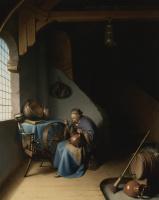 Геррит (Герард) Доу. Старуха ест овсянку, сидя у окна рядом с прялкой
