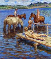 Николай Петрович Богданов-Бельский. Купание коней