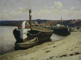 Илларион Михайлович Прянишников. На Волге. Баржи. Этюд 1880-е