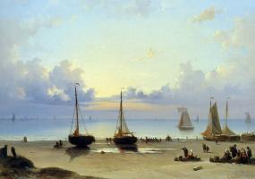Эверхардус Костер. Корабли и рыбаки на пляже