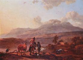 Николас Питерс Берхем. Итальянский пейзаж на закате
