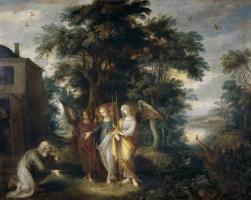 Франс Франкен Младший. Авраам и три ангела в виде странников.