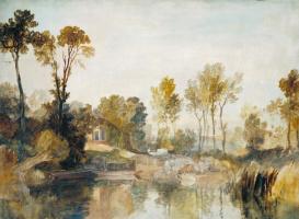 Джозеф Мэллорд Уильям Тёрнер. Дом у реки с деревьями и овцами
