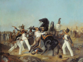 Adolf Iosifovich Charlemagne. The capture of the Life Guard Horse Regiment of the French banner of the 4th Regiment of the Line under Austerlitz. 1805 Central Military Historical