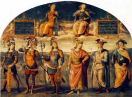 Пьетро Перуджино. Стойкость и умеренность с шестью античными героями