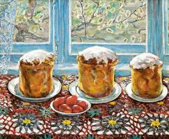 Антон Аркадьевич Довнар. Хлеб матери (пасхальный натюрморт)