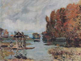 Alfred Sisley. Washerwomen in Bougival