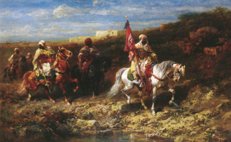Адольф Шрейер. Арабский всадник в пейзаже