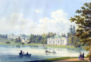 The Cameron gallery and grotto on the shore of the pond in Tsarskoye Selo