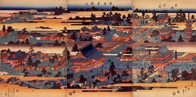 "Utagawa Hiroshige. Panorama: the Temple of Kinryuzan in Asakusa. The series ""Famous places of the Eastern capital"""