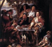 Якоб Йорданс. Обедающие люди