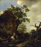 Ван Остаде Йсакк. Окраина деревни, с всадником