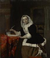 Габриель Метсю. Элегантная дама за письменным столом