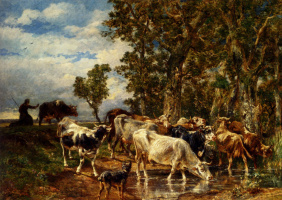 Charles Emile Jacques. A herd of cows at the trough