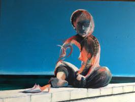 Nikolai margin. Woman's mirage on the pier
