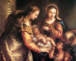 Giovanni Antonio Guardi. Holy family with John the Baptist and St. Catherine