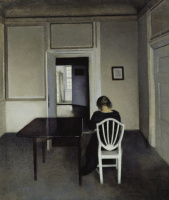 Вильгельм Хаммерсхёй. Интерьер с Идой на белом стуле